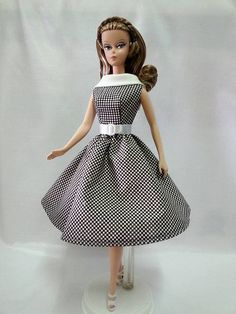 Handmade,Vintage Style Little Black Dress//Outfit For 11.5in.Doll Silkstone H06