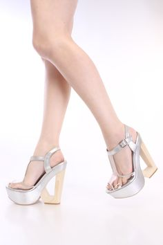 Silver Plastic T-Strap Wedges Metallic Faux Leather