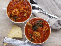 Tomatoey Tortellini Soup with Kale & Cannelloni Beans #weeknightdinner #warm #tortellini #tomatosoup #fromtheathleteskitchen