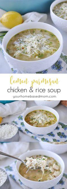 lemon parmesan chicken & rice soup - dinner in minutes!  #ad  #sk