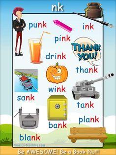 nk Words - FREE Printable Phonics Poster - Great for Word Walls Phonics Reading, Teaching Phonics, Teaching Kindergarten, Teaching Reading, Preschool, Phonics Flashcards, Phonics Words, Phonics Worksheets, English Phonics