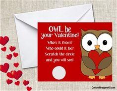 Owl Valentine's Day card scratch off