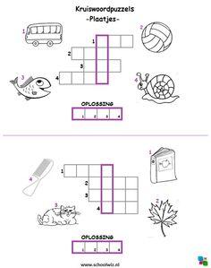 Mini kruiswoordpuzzel 1. #puzzels #kruiswoordpuzzels #kinderpuzzels #plaatjes #schoolwiz Curriculum, Homeschool, Teaching First Grade, Writing Practice, Home Schooling, Travel With Kids, Spelling, Worksheets, Classroom
