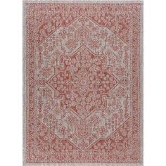 Tayse Rugs Veranda Terra 8 ft. x 10 ft. Indoor/Outdoor Area Rug VND1420 8x10 - The Home Depot Decorative Borders, Traditional Area Rugs, Oriental Design, Rug Shapes, Indoor Outdoor Area Rugs, Outdoor Dining, Online Home Decor Stores, Runes, Rug Runner