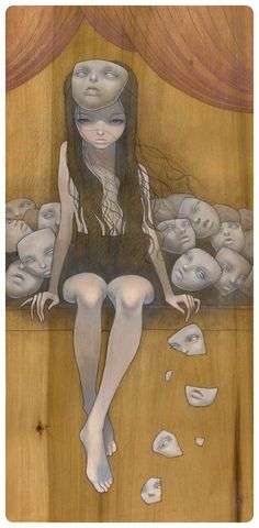 by Audrey Kawasaki This is how I feel a lot of the time. Just put on another mask. Art And Illustration, Arte Pop, Pop Surrealism, Caricatures, Clipart, Dark Art, Art Inspo, Amazing Art, Fantasy Art
