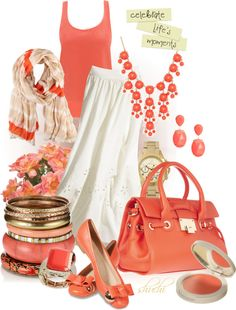 Such a pretty coral. Cute Summer Outfits, Pretty Outfits, Beautiful Outfits, Cool Outfits, Fashion Outfits, Womens Fashion, Love To Shop, Girly Things, Spring Summer Fashion
