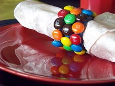 Kids' Party Napkin Folding Ideas — m&m candy napkin rings M M Candy, Candy Party, Candy Theme, Dessert Table, A Table, Dessert Party, Deco Table Noel, Chocolate Party, Festa Party