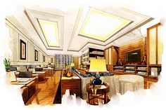 sketch perspective interior living office  into a watercolor on paper. stock photo