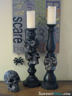 $5 Spooky Skull Candlesticks Check it out at Sawdustgirl.com!