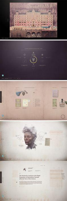 """Le site web du dernier film du génialissime réalisateur Wes Anderson """"The Grand Budapest Hotel"""" Superbe, tout y est Graphisme, typo, illustration… Mais en full flash… www.akademiezubrowka.com"""