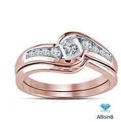 2 CT Princess Cut Diamond Bridal Promise Ring Set In 18K Rose Gold Fn 925 Silver #affordablebridaljewelry