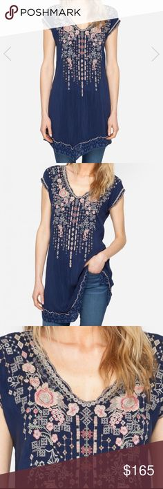 Johnny Was Navy Blue Tunic Johnny Was Tunic with asymmetrical hem! Johnny Was Tops