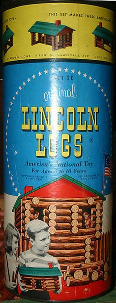 The Original Lincoln Logs - Set 2C They stored in a metal and cardboard canister.