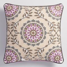 One of my favorite discoveries at WorldMarket.com: Embroidered Medallion Throw Pillow