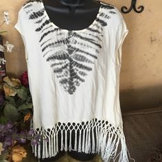 Fri 25% off 2+ Cute fringe top This cute tie-dye French top is perfect over a tank top open back with two button detail. Fringe trim Chelsea & Violet Tops Tunics