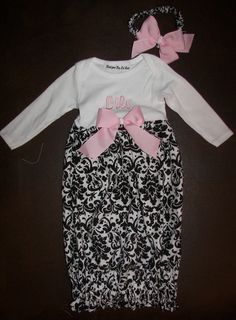 Baby Layette Gown with Matching Fabric by SewDesignsByLeAnn, $30.00