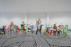 Jim Lambie, 'Train in Vain' (2008) Wooden chairs, handbags, mirrors, gloss paint, dimensions variable Jim Lambie and Hara Museum of Contemporary Art