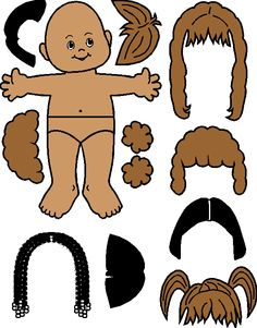 paper doll pattern, could be used for felt boards, good hair designs.