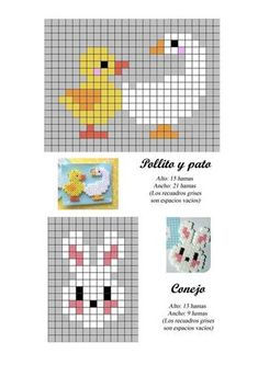 duck, goose and bunny hama beads pattern Tiny Cross Stitch, Beaded Cross Stitch, Cross Stitch Animals, Cross Stitch Designs, Cross Stitch Embroidery, Cross Stitch Patterns, Hama Beads Patterns, Beading Patterns, Embroidery Patterns