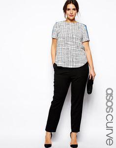 ASOS Curve | ASOS CURVE Skinny Pant With Zip Detail at ASOS & shirt