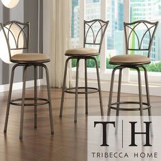 @Overstock.com - TRIBECCA HOME Avalon Double Cross Swivel Counter Barstool (Set of 3) - Your guests and family members can sit comfortably on these Avalon stools with backrests. Each stool in this set of three is made with a durable metal frame, padded seat cushions for comfort, and a decorative backrest that provides support.  http://www.overstock.com/Home-Garden/TRIBECCA-HOME-Avalon-Double-Cross-Swivel-Counter-Barstool-Set-of-3/4302143/product.html?CID=214117 $120.99