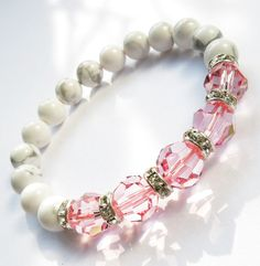pink swarovski pink by RanolaSg Handmade Jewelry, Unique Jewelry, Handmade Gifts, Awareness Ribbons, Breast Cancer Awareness, Bridal Jewelry, Swarovski, Beaded Bracelets, Trending Outfits