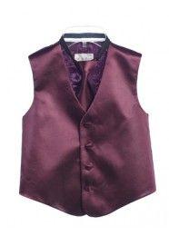 Boys plum tuxedos   Plum Plain 2Pcs Vest Set