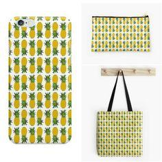 Pineapple time! # #pineapple #piña #ananas #patterndesign #pineapplepattern #fruitpattern #estampado  #patrondediseño #paperdose #pattern #patron #patternoftheday #surfacepattern #surfacedesign #tropicalprint #diseñodeestampados #redbubble #bags #bolsos #estuches #cases #skins #phonecases #carcasas #iphonecases