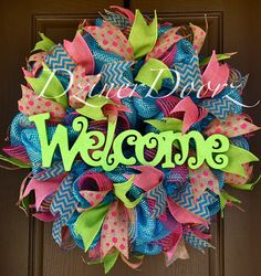 Spring WELCOME deco mesh Wreath by DzinerDoorz on Etsy, $115.00