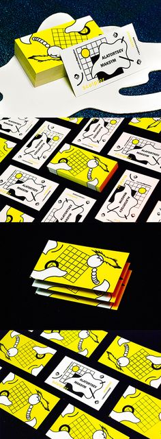 Quirky Illustrated Edge Painted Business Cards For An Architect