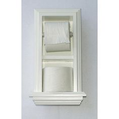@Overstock - Dress up the look of your bathroom and keep supplies handy with this white wood toilet paper holder. The unique design of this holder allows you to easily dispense any size toilet tissue. Additional space is provided for convenient storage.http://www.overstock.com/Home-Garden/In-The-Wall-Toilet-Paper-Holder-Plus-Storage/6213117/product.html?CID=214117 $79.99