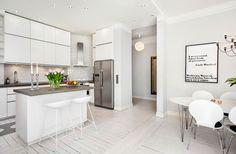 Exakt den här planlösningen kommer mitt kök få, med köksö i mitten. White Kitchen Scandinavian Interior, Scandinavian Style, Home Interior Design, Sweet Home, New Homes, House Design, Wood, Kitchen, Table