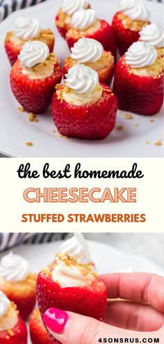 This delicious dessert berry recipe is perfect for almost any occasion. Cheesecake stuffed strawberries are your favorite dessert in petite, finger food form. Get a little bit of dessert on the dessert table without much extra effort. It's just the thing to serve when you don't want to hire a planner- but want the same catered quality.