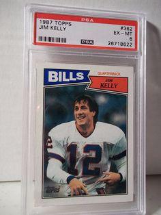 1987 Topps Jim Kelly RC PSA EX-MT 6 Football Card #362 NFL HOF Collectible #BuffaloBills