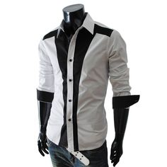 white w/ black accent slim fit button long sleeve