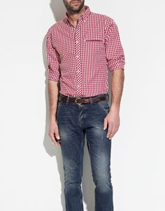 BUTTON DOWN SHIRT WITH CONTRAST DETAILING