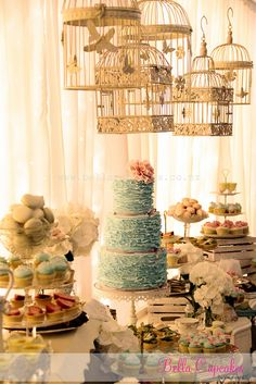 Vintage dessert table for a wedding but I love those birdcages and would use them for a bridal shower too. Vintage Dessert Tables, Dessert Buffet, Party Decoration, Wedding Decorations, Wedding Ideas, Wedding Blog, Wedding Photos, Wedding Desserts, Wedding Cakes