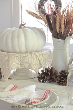 Creating Vintage Charm: Fall with White! Tablescape