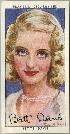 Bette Davis ~ 1938 John Player & Sons Film Stars Tobacco Card, Series 3, #10 on Immortal Ephemera...