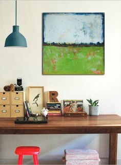 Original Abstract painting  RAW Green  Acrylic door RonaldHunter, $289.00