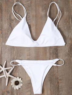 Low Waisted Spaghetti Straps Bikini Set - WHITE S