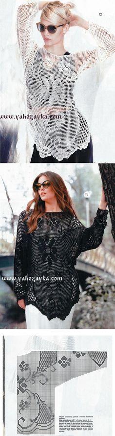 Пуловер филейным узором крючком. Летние женские пуловеры | Я Хозяйка