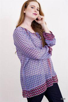 Blue and Purple Printed Tunic Top - #blondellamydean #plussizefashion #plussize #curves