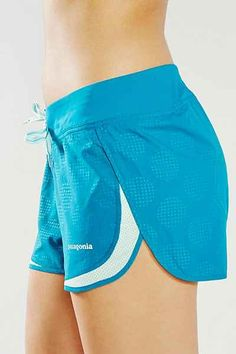 """Patagonia: Strider Shorts in """"Teal"""" / """"Patagonia's specially designed short for long distance runners. In ultra-light quick-dry polyester that wicks moisture. With non-chafing seams, side splits to promote air flow and range of motion, and non-absorbent lines at waistband and an open-knit mesh stripe for enhanced breathability. Reflective elements and a Durable Water Repellent (DWR) finish mean you can run at any time in any weather."""" / $45.00"""