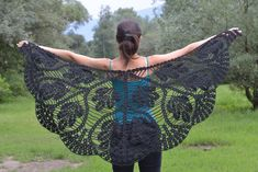 Crochet triangle black scarf shawl  mohair and by CrochetZone #SPSteam