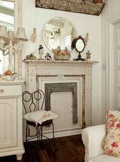 Faux Fireplace. Chalk Painted. Living Room Chippy, Shabby Chic, Whitewashed, Cottage, French Country, Rustic, Swedish decor Idea.. ***Pinned by oldattic ***.