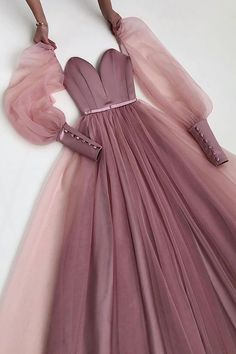 Tulle Prom Dress, Prom Party Dresses, Ball Dresses, Dress Up, Formal Dresses, Prom Dresses Long Pink, Prom Dresses Long With Sleeves, Vestidos Vintage, Vintage Dresses