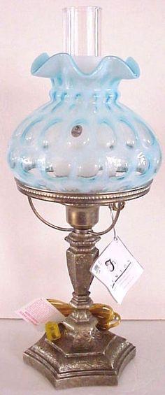 Fenton Blue Coin Dot Optic Lamp 2003 New Mint In Original Box