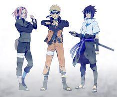 Team 7 led by Kakashi Hatake with Naruto Uzumaki, Sakura Haruno, and Sasuke Uchiha. Naruto Team 7, Naruto And Sasuke, Anime Naruto, Naruto Sasuke Sakura, Naruto Shippuden Anime, Naruto Art, Sakura Haruno, Gaara, Manga Anime