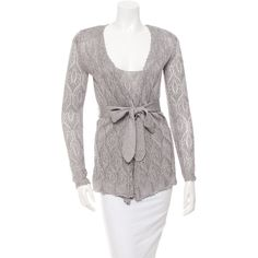 Magaschoni Metallic Cardigan Set ($95) ❤ liked on Polyvore featuring tops, cardigans, silver, scoop neck top, white scoop neck top, sash belt, silver metallic top and white cardigan